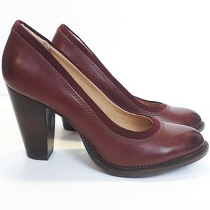 Burgundy Leather Suede Chunky Heel Hush Puppies 8